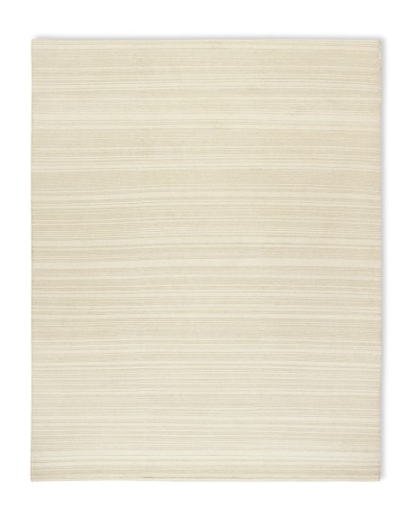 Hand-Knotted Textured Stripe Rug, 8' X 10', Ivory