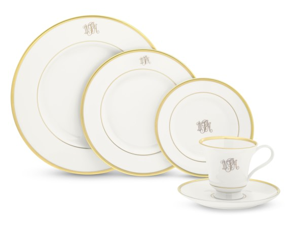 Pickard Signature Monogram 5-Piece Place Setting with Margaret teacup, Gold