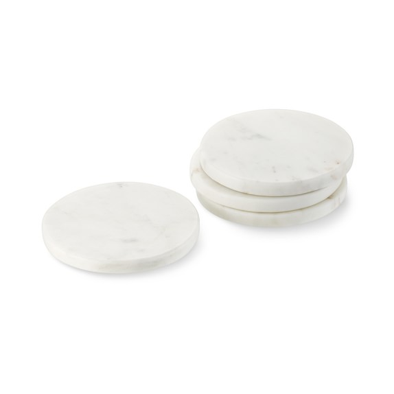 White Marble Coasters, Set of 4