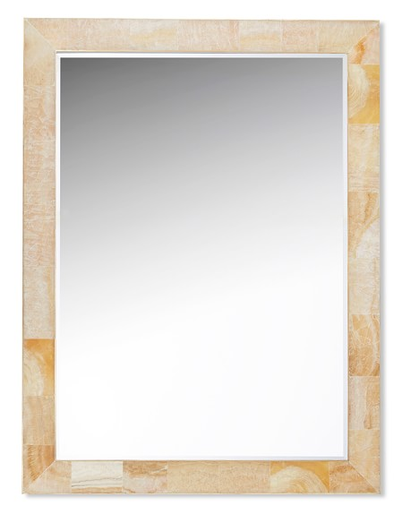 Brass Bordered Stone Wall Mirror, Sand
