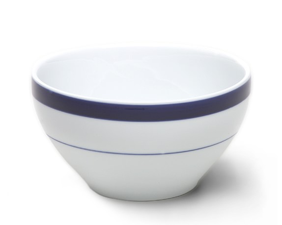 Brasserie Blue-Banded Porcelain Breakfast Bowls, Set of 4