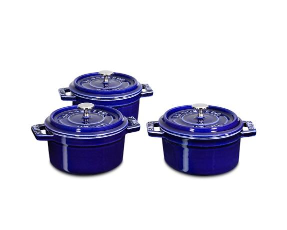 Staub Cast-Iron Mini Round Cocotte Set, 1/4-Qt., Sapphire Blue