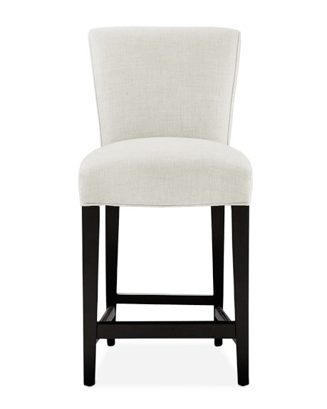 Fitzgerald Dining Stool, Counter, Ebony, Chunky Linen, White