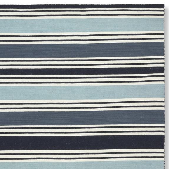 Awning Stripe Rug Swatch, Blues