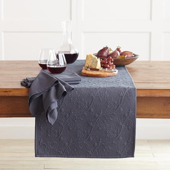 Vine Floral Boutis Table Runner, Linen Navy