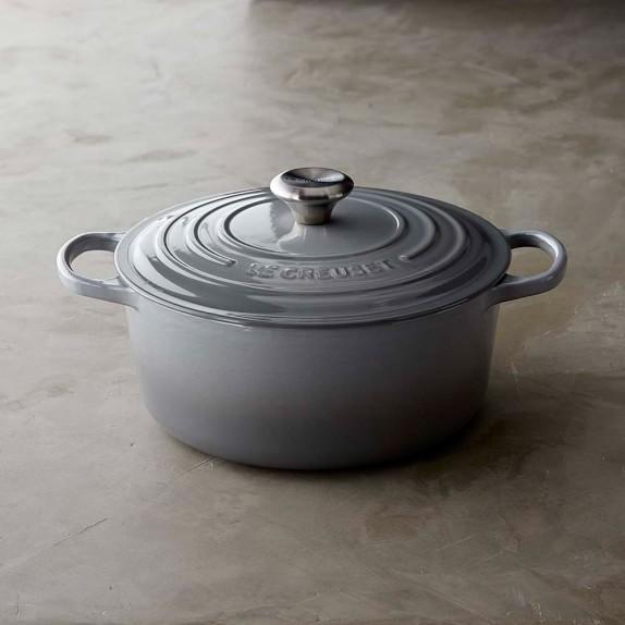 Le Creuset Signature Cast-Iron Round Dutch Oven, 5 1/2-Qt., French Grey