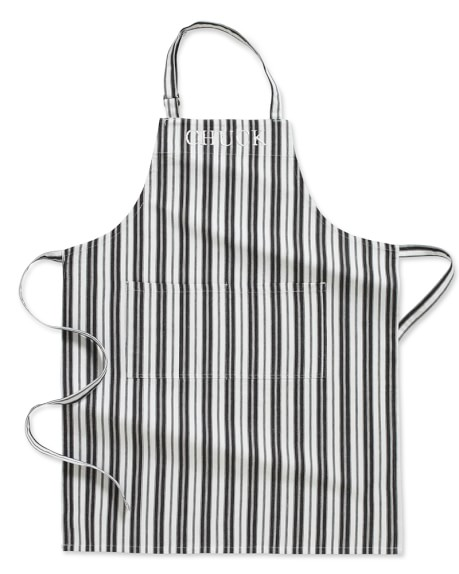 Personalized Stripe Apron, Black