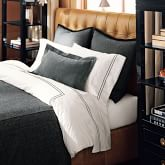 White Hotel Bedding, Sham, Each, Two-Line, Standard, Black