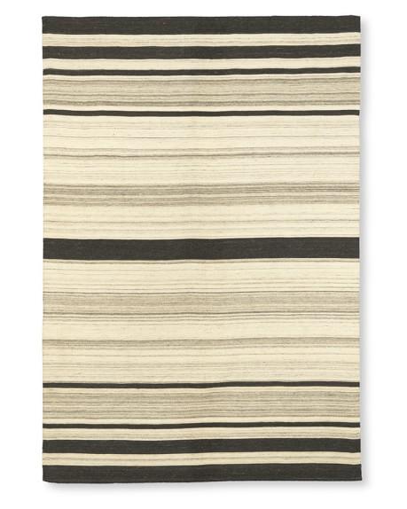 Saddle Blanket Variegated Striped Dhurrie Rug, 6' X 9', Neutral