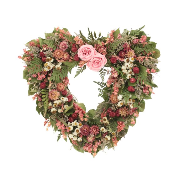 Pink Rose & Heart Wreath