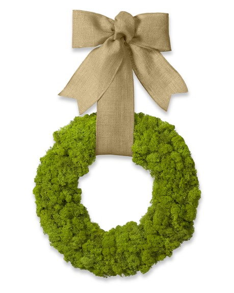 Moss Wreath with Burlap Ribbon, 17