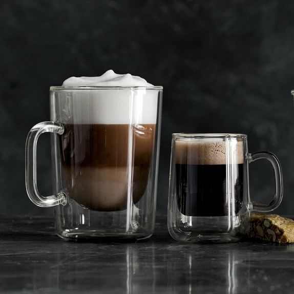 Double wall glass coffee cups set of 2 williams sonoma for Cool glass coffee mugs