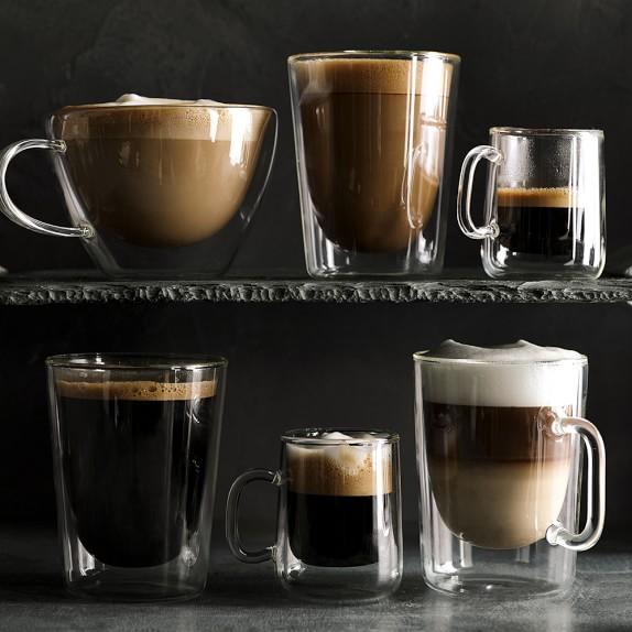 Espresso Coffee Glass ~ Double wall glass coffee cups set of williams sonoma