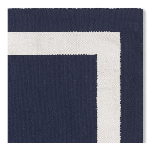 Solid Border Indoor Outdoor Rug Navy Williams Sonoma