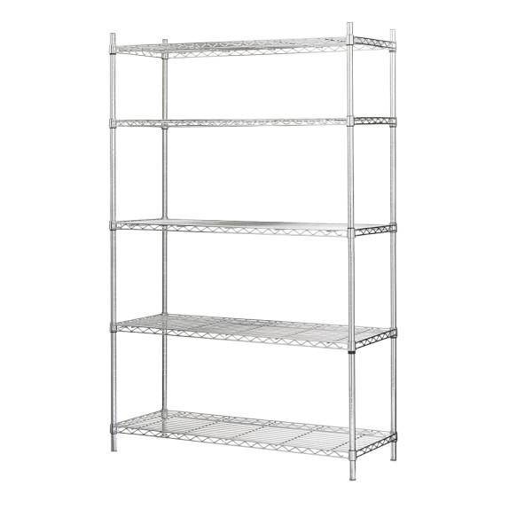 Wire 5-Shelf Wide Unit, Chrome