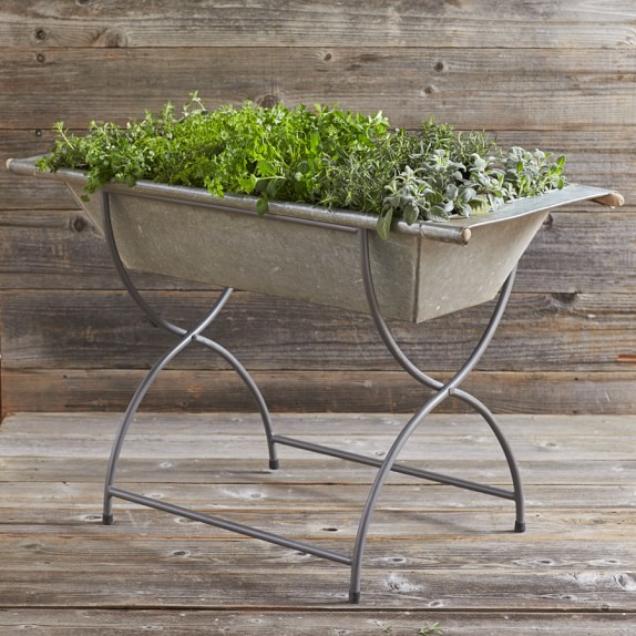 Vintage Galvanized Washtub with Stand