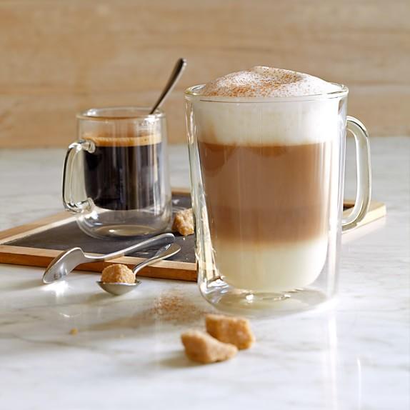 Espresso Coffee Glass ~ Double wall glass coffee cups williams sonoma