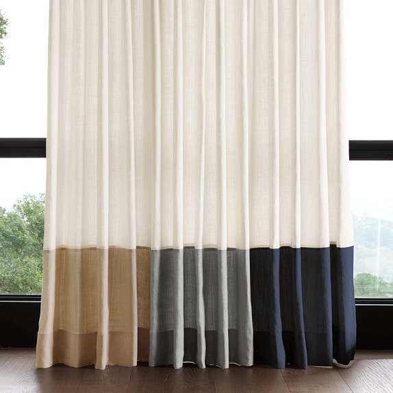 Bottom Border Rod Pocket Drape Smoke Williams Sonoma