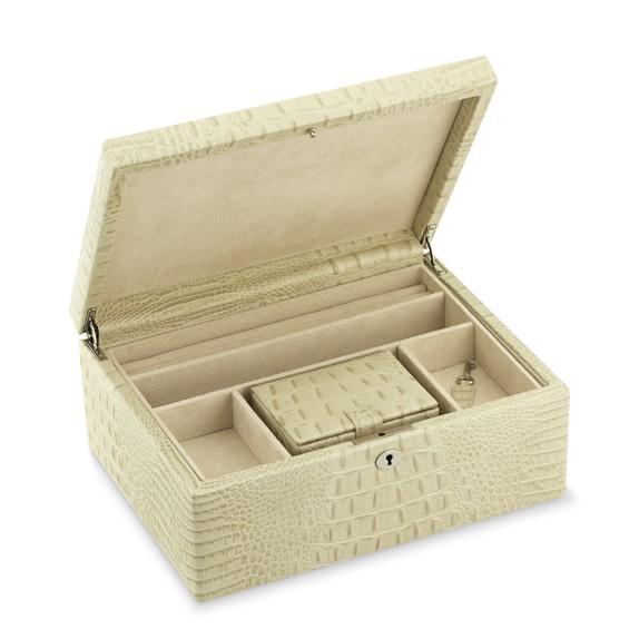 leather jewelry box crocodile williams sonoma