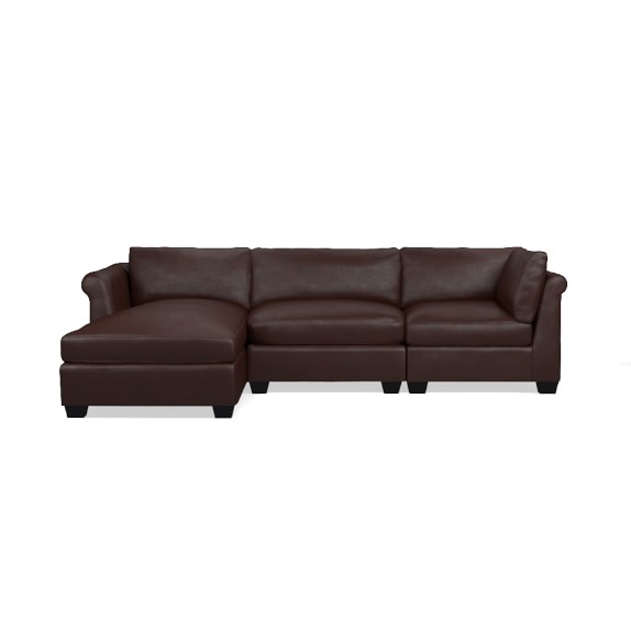 Williams sonoma 3 piece leather chaise sectional left for 3 piece leather sectional sofa with chaise