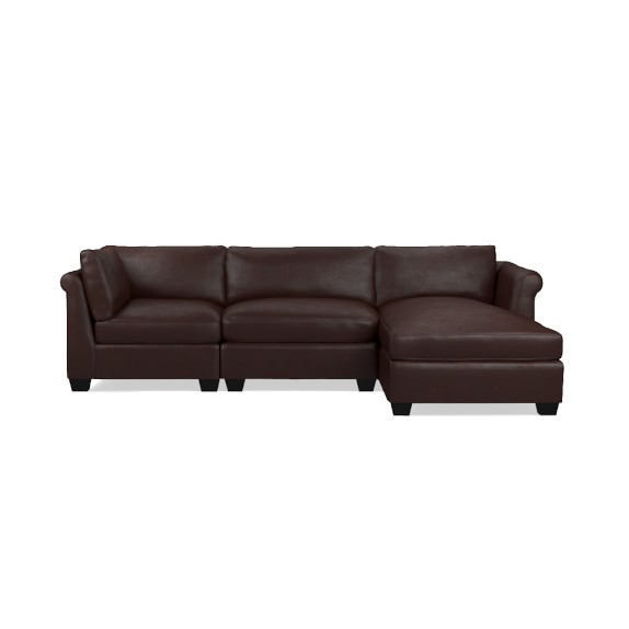 Williams Sonoma 3 Piece Leather Chaise Sectional Right