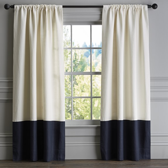 Bottom Border Rod Pocket Drape Navy Williams Sonoma