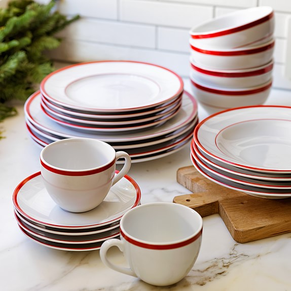 Brasserie red banded porcelain dinner plates set of