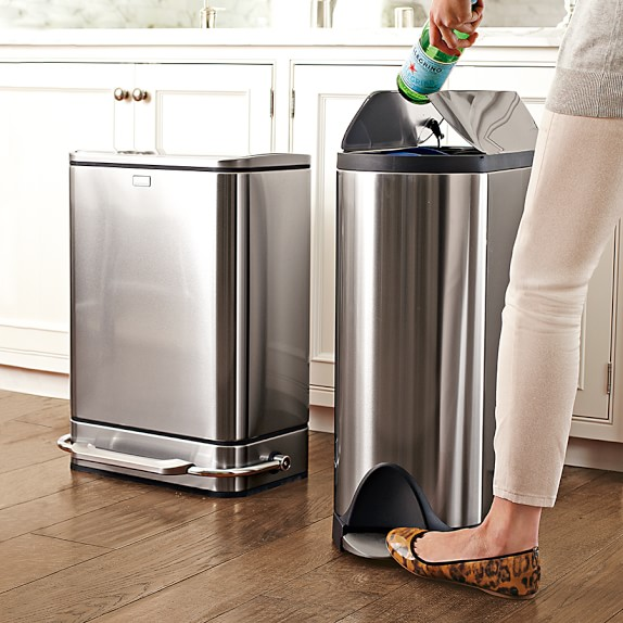 simplehuman stainless steel fingerprint proof butterfly trash can williams sonoma. Black Bedroom Furniture Sets. Home Design Ideas