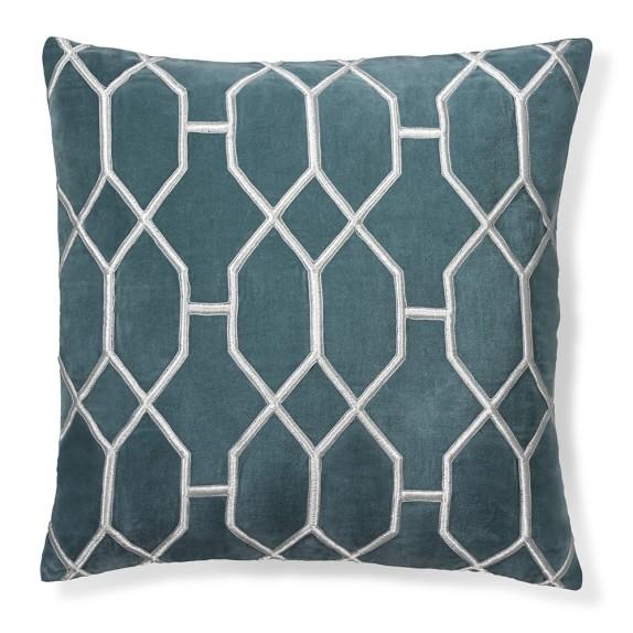 Geometric embroidered velvet pillow cover blue williams