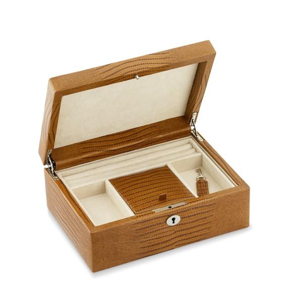 leather jewelry box lizard williams sonoma