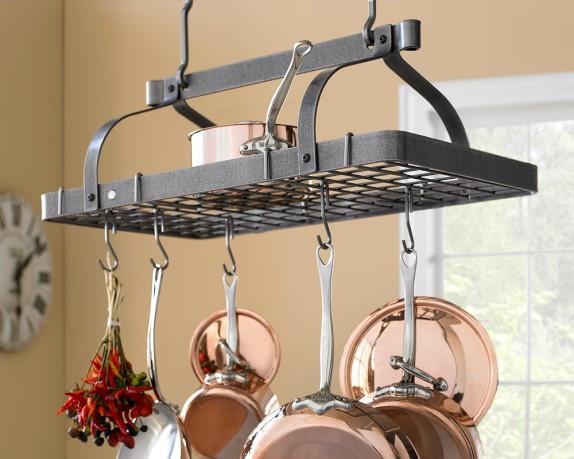 Enclume grande cuisine rectangular ceiling pot rack for Overhead pots and pans rack