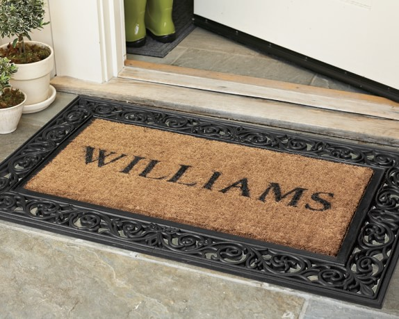 Personalized rubber scroll coir doormats williams sonoma for Outdoor doormats