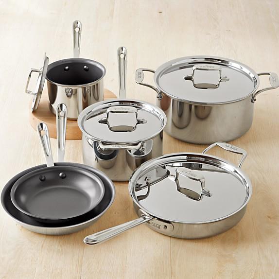 All Clad D5 Stainless Steel Nonstick 10 Piece Cookware Set
