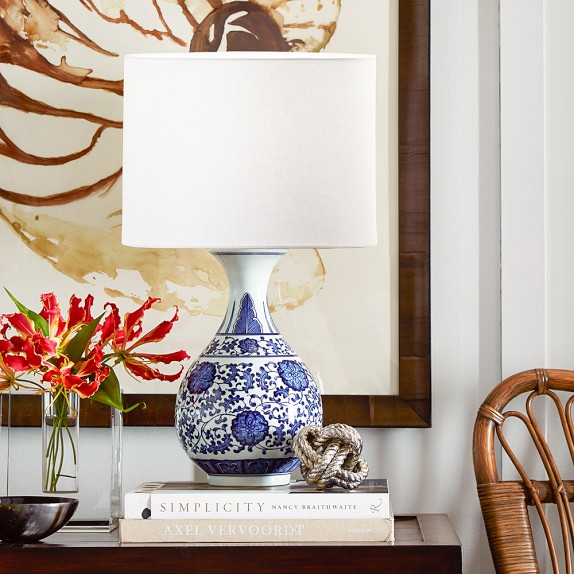 Flared Ginger Jar Table Lamp Blue And White Williams Sonoma