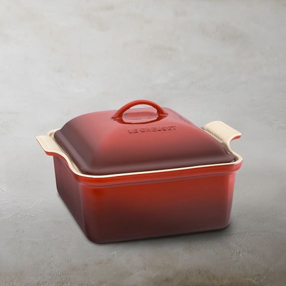 Le Creuset Heritage Stoneware Square Covered Casserole, Red, 4-Qt.