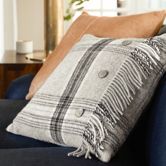 Cynthia Rowley Fringe Pillows: Tartan Wool Pillow Cover With Fringe, Bothwell