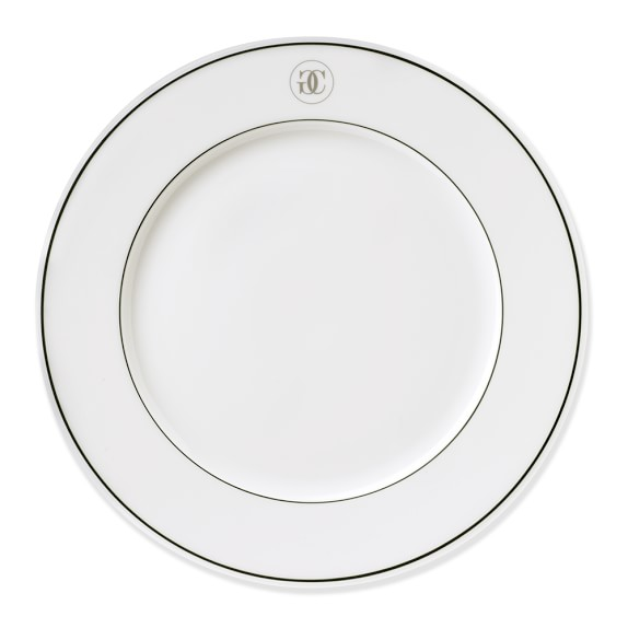 Williams-Sonoma Monogram Collection Dinner Plates, Set of 4, Silver/Green