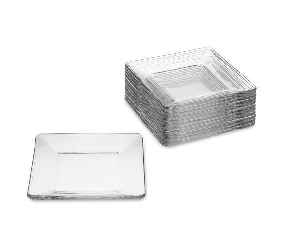 Mini Glass Square Plates, Set of 12
