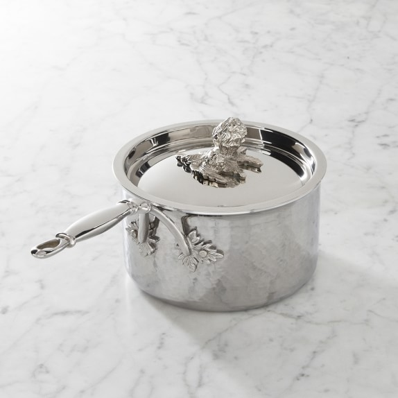 Ruffoni Opus Prima Hammered Stainless-Steel Saucepan, 1 1/2-Qt.