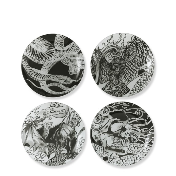 Haunted Halloween Appetizer Plates, Set of 4