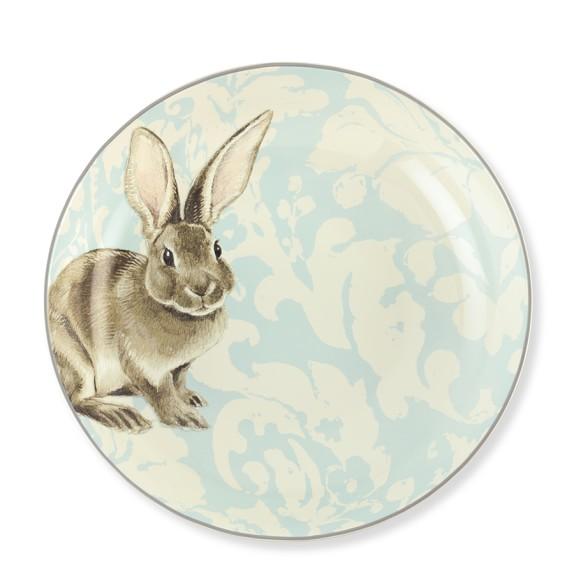 Damask Easter Bunny Serving Bowl