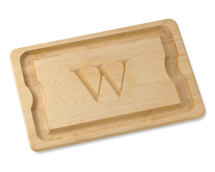 monogram carving board, maple  williams sonoma,