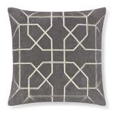 Moorish Tile Embroidered Velvet Pillow Cover, 20