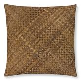 Woven Leather Hide Pillow Cover/Canvas Back, 22