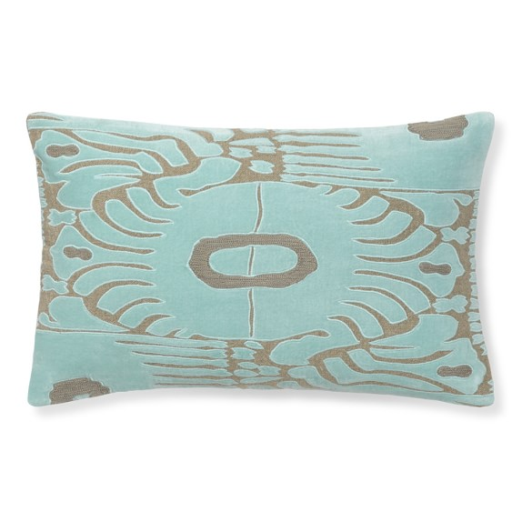 Velvet Ikat Applique Pillow, 14