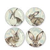 Damask Bunny Salad Plates Mixed, Set of 4