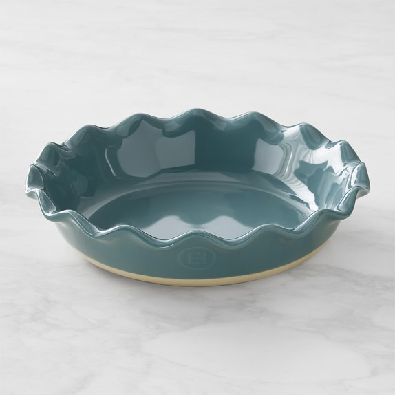 Emile Henry Ruffled Pie Dish, Teal