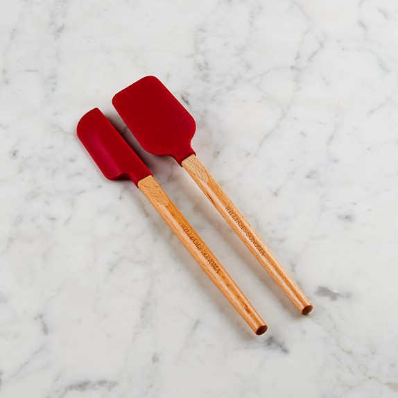Williams Sonoma Silicone Mini Spatula & Spoonula with Classic Wood Handle, Red