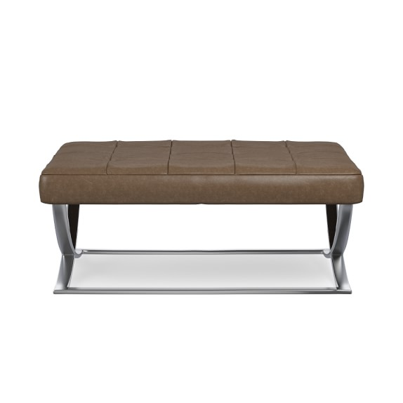 James Nickel and Leather Ottoman Italian Distressed Leather Solid Toffee