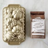 Nordic Ware Fall Loaf Pan & Williams Sonoma Guittard Chocolate Quick Bread Mix Set